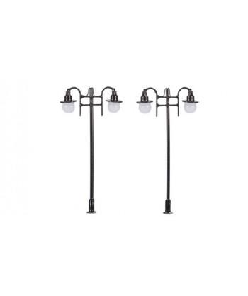 MABAR TREN H0 60174 – Set 2 lampioni stradali doppi, LED 12/16V