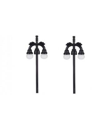 MABAR TREN H0 60175 – Set 2 lampioni stradali doppi, LED 12/16V