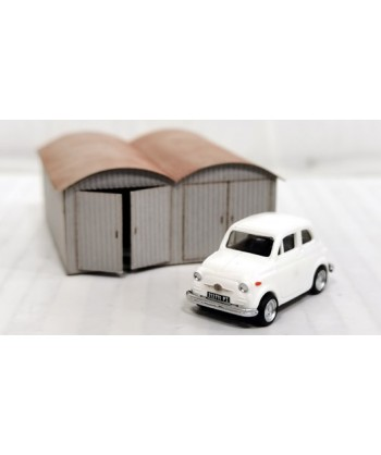 PIRATA H0 PI12111 – Garage in lamiera doppio con Fiat 500 panna