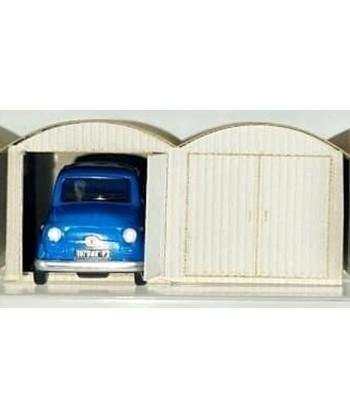 PIRATA H0 PI12113 – Garage in lamiera doppio con Fiat 500 blu