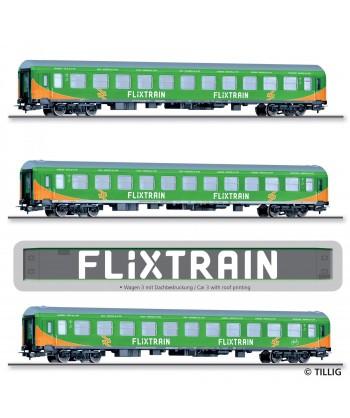 """TILLIG H0 70045 – Set 3 carrozze passeggeri """"FLIXTRAIN"""", tipo Halberstadt, ep. VI"""
