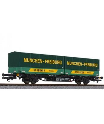 LILIPUT H0 235220 – Carro Lgjs con carico cassoni SCHENKER – DB Ep. IV