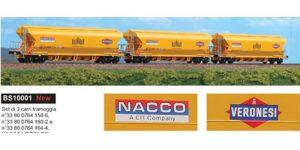 "BLACKSTAR H0 BS10001 – Set 3 carri tramoggia 101 mc. Tagnpps ""NACCO-VERONESI"" Ep. VI"