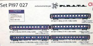 "PIRATA H0 PI97027 – Set 5 Carrozze Letto ""Nightjet 1234/1237 – Vienna/Livorno"" OBB Ep. VI"
