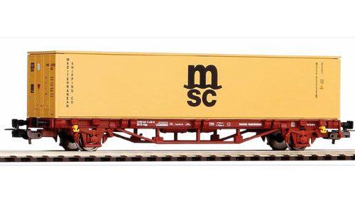 """PIKO 58773 carro pianale FS con container /""""MSC/"""" /'40 NUOVO"""