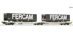 """ROCO H0 76435 – Carro articolato tipo Sdggmrs/T2000 """"A.A.E."""" semirimorchi Fercam – Ep. VI"""