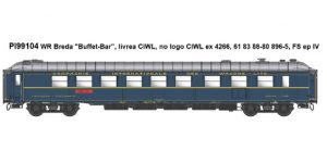 "PIRATA H0 PI99104 – Carrozza Breda ""Buffet Bar"" livrea CIWL, no logo – FS Ep. IV"